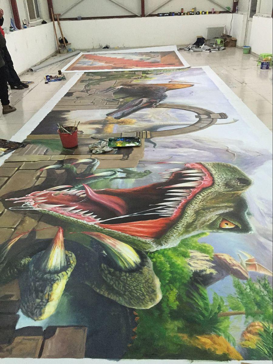 上海纯手绘3d立体画《恐龙归来》|油画|纯艺术|上海