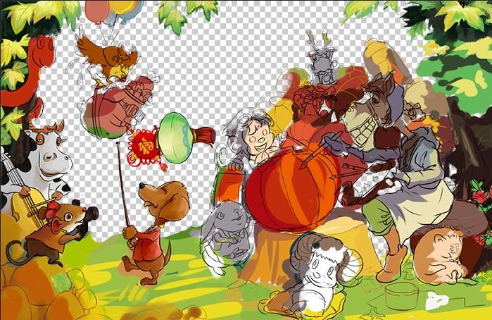 场景改成森林里,马大爷在为春节而忙碌