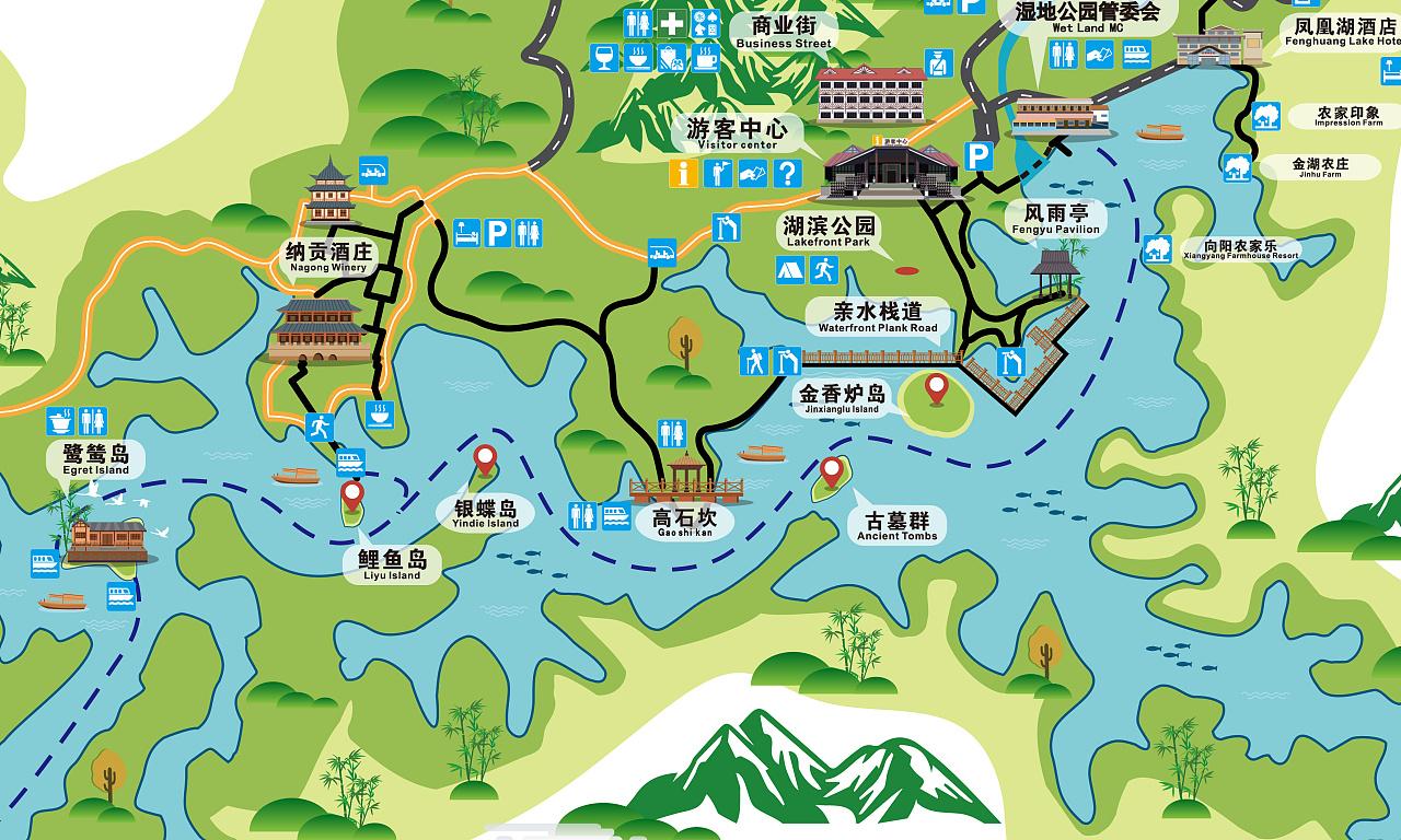 凤凰湖手绘地图