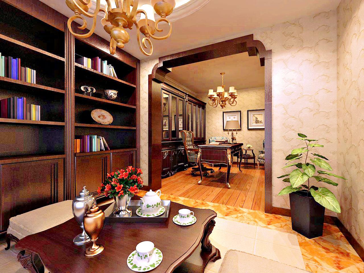 盛邦大都会174平美式风格书房位置效果图:设计师给主人书房设计为套间