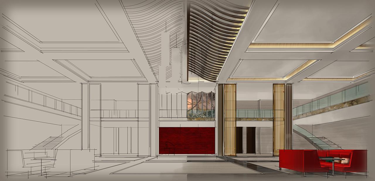 酒店大堂(电脑手绘效果图)|空间|室内设计|a32号
