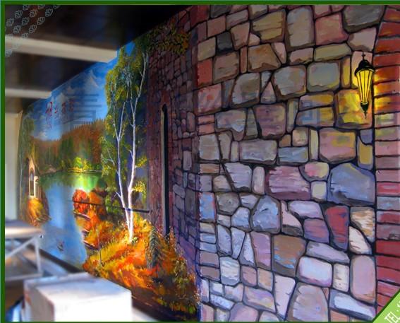 青岛墙绘/墙绘作品/青岛青城墙绘作品--风景油画