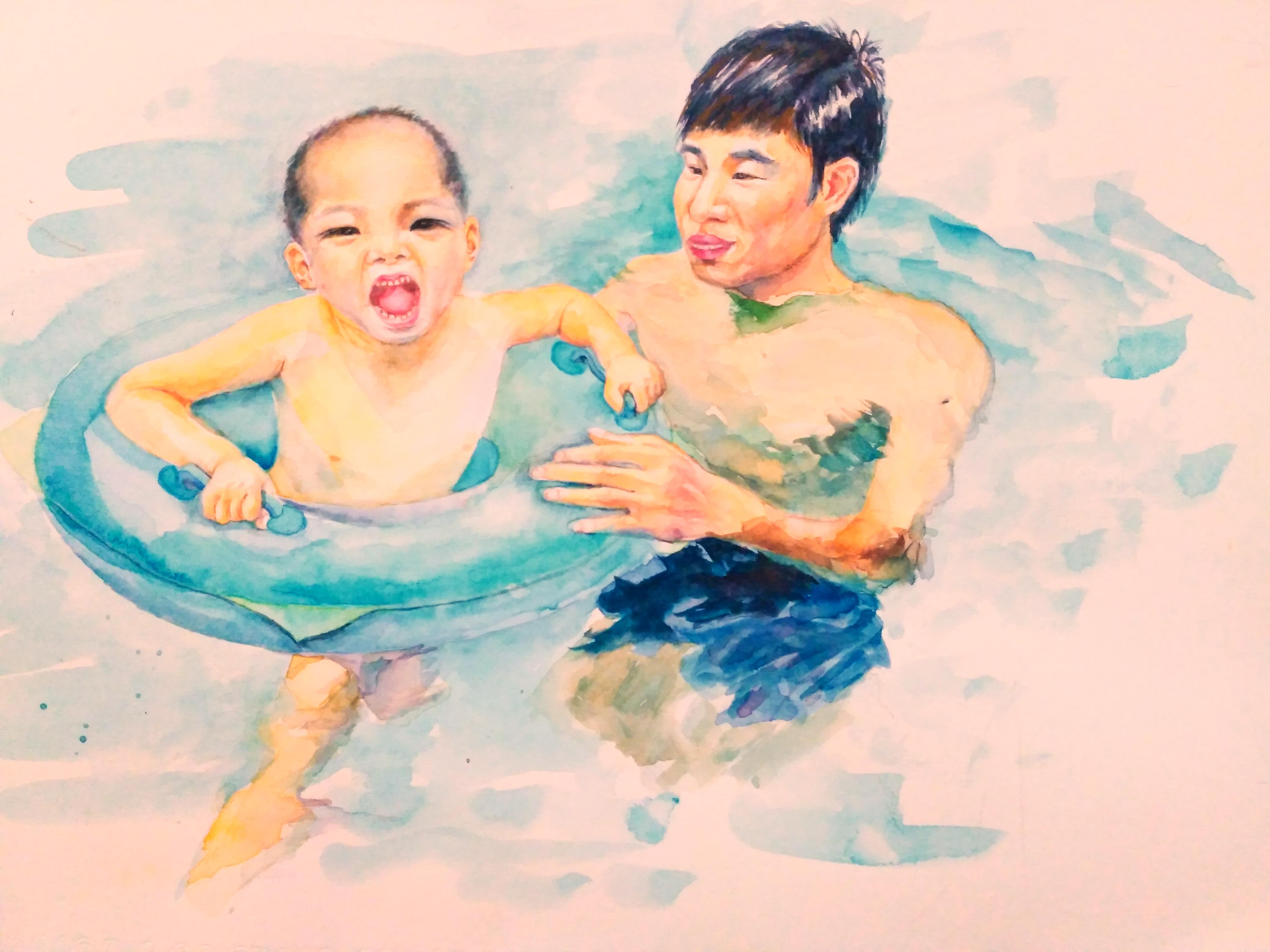 水彩人物---爸爸带宝宝去游泳