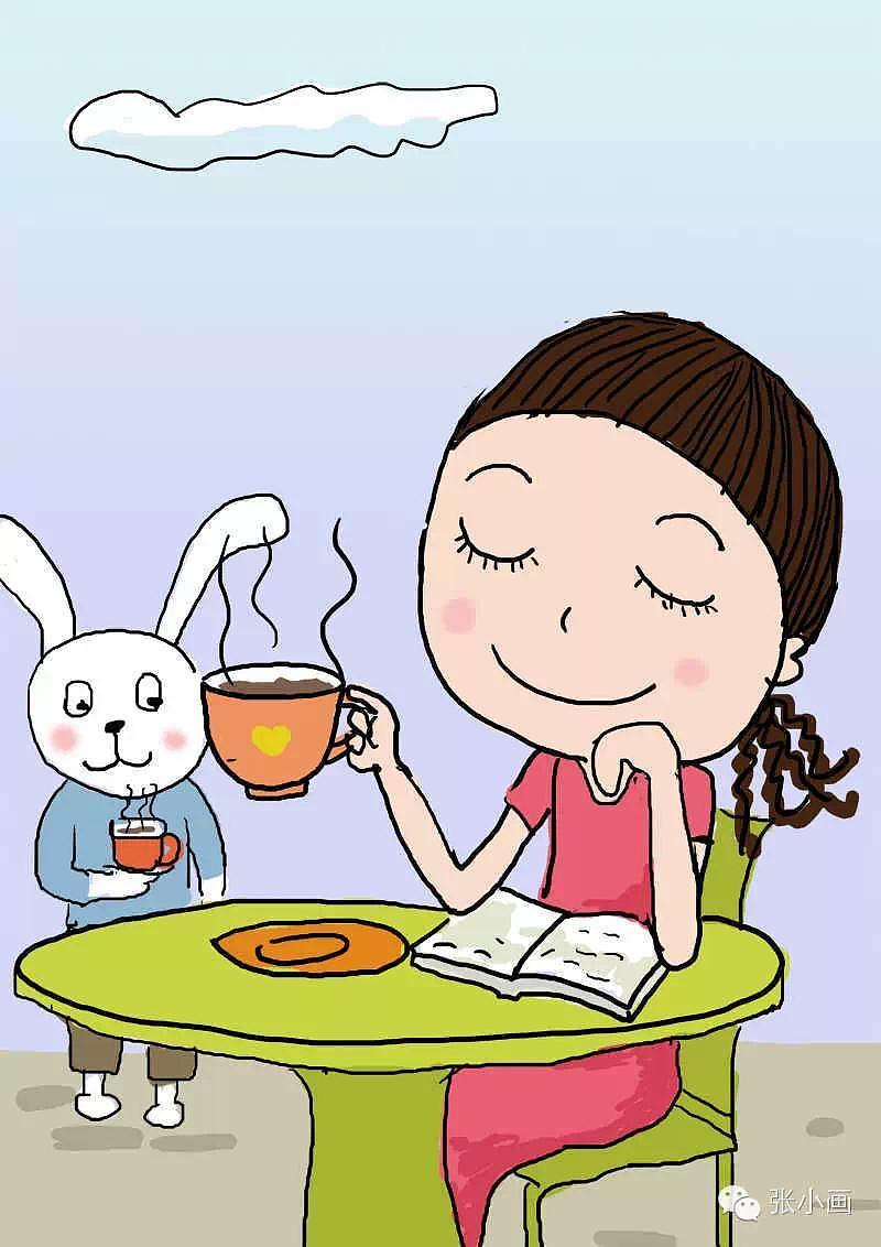 一边喝咖啡一边看书图片