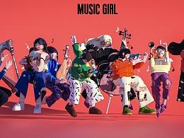 MUSIC girl 插画转三维