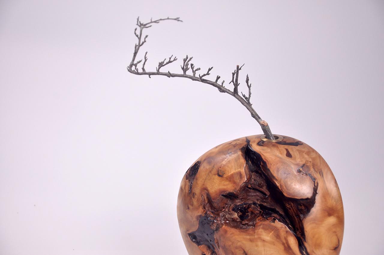 【在外木艺】手作木根花器