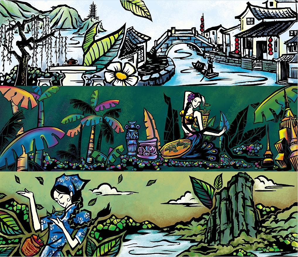 根据不同的茶叶产地设计的插画图案,分别是龙井图片