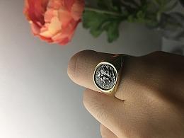 钱币浮雕狮子手工戒指