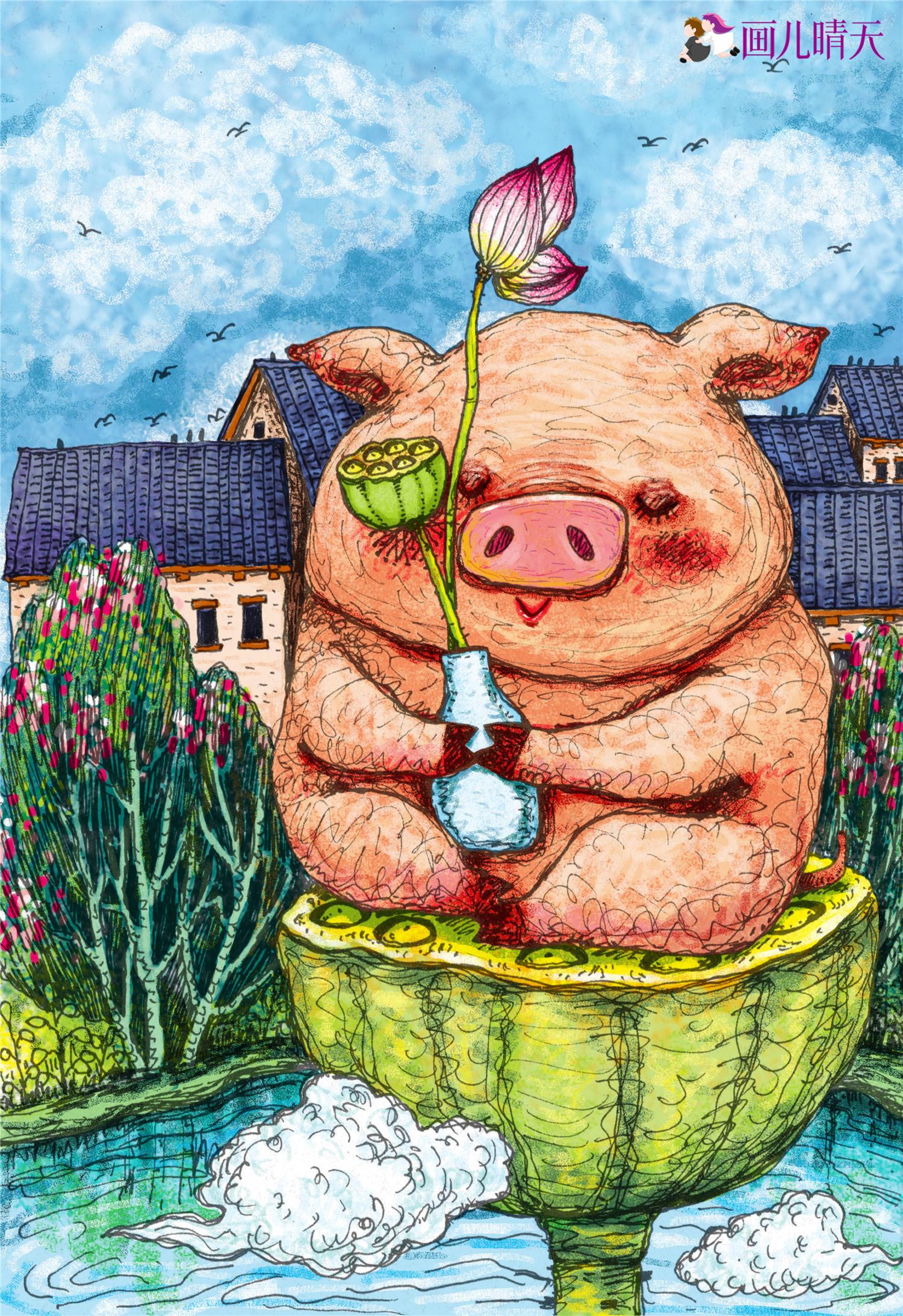 猪年插画-猪年图片元素插画20几幅|插画|儿童插画|画图片