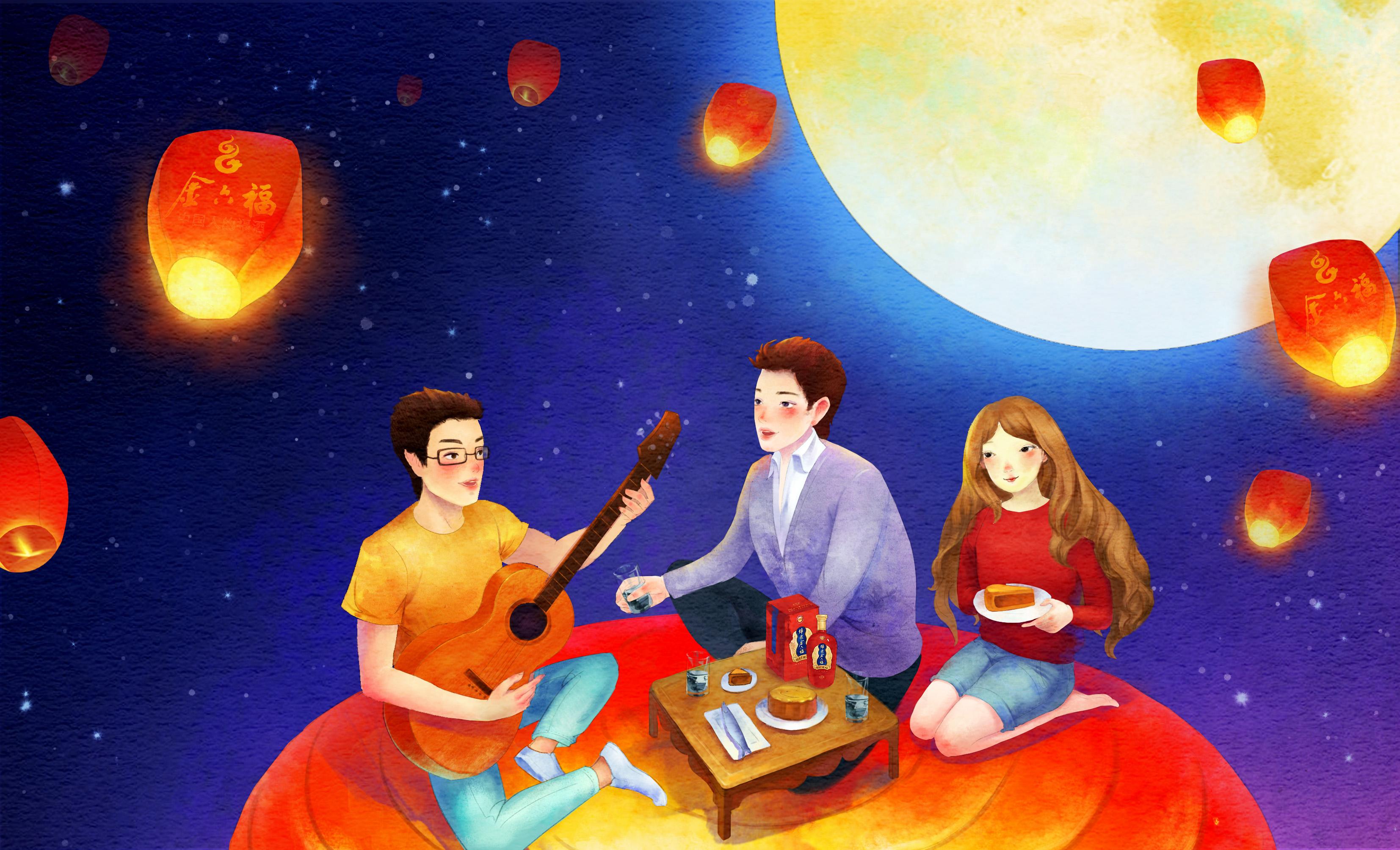 中秋节,吃月饼,放孔明灯.