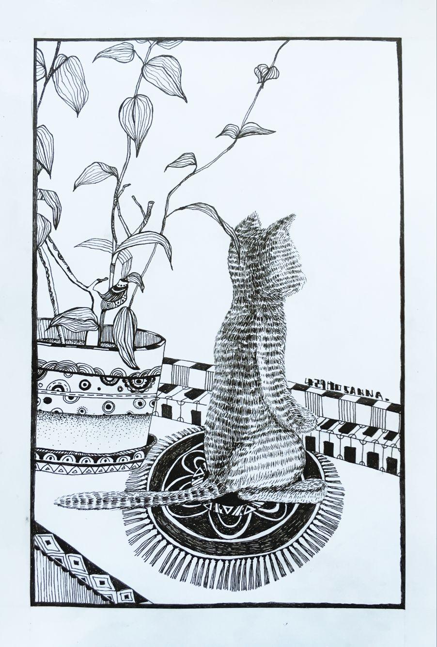 手绘黑白创意线描|涂鸦/潮流|插画|小语娜娜 - 原创