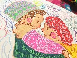 鸡翅笔下的小情侣呀<和你在一起>——丙烯马克笔装饰画