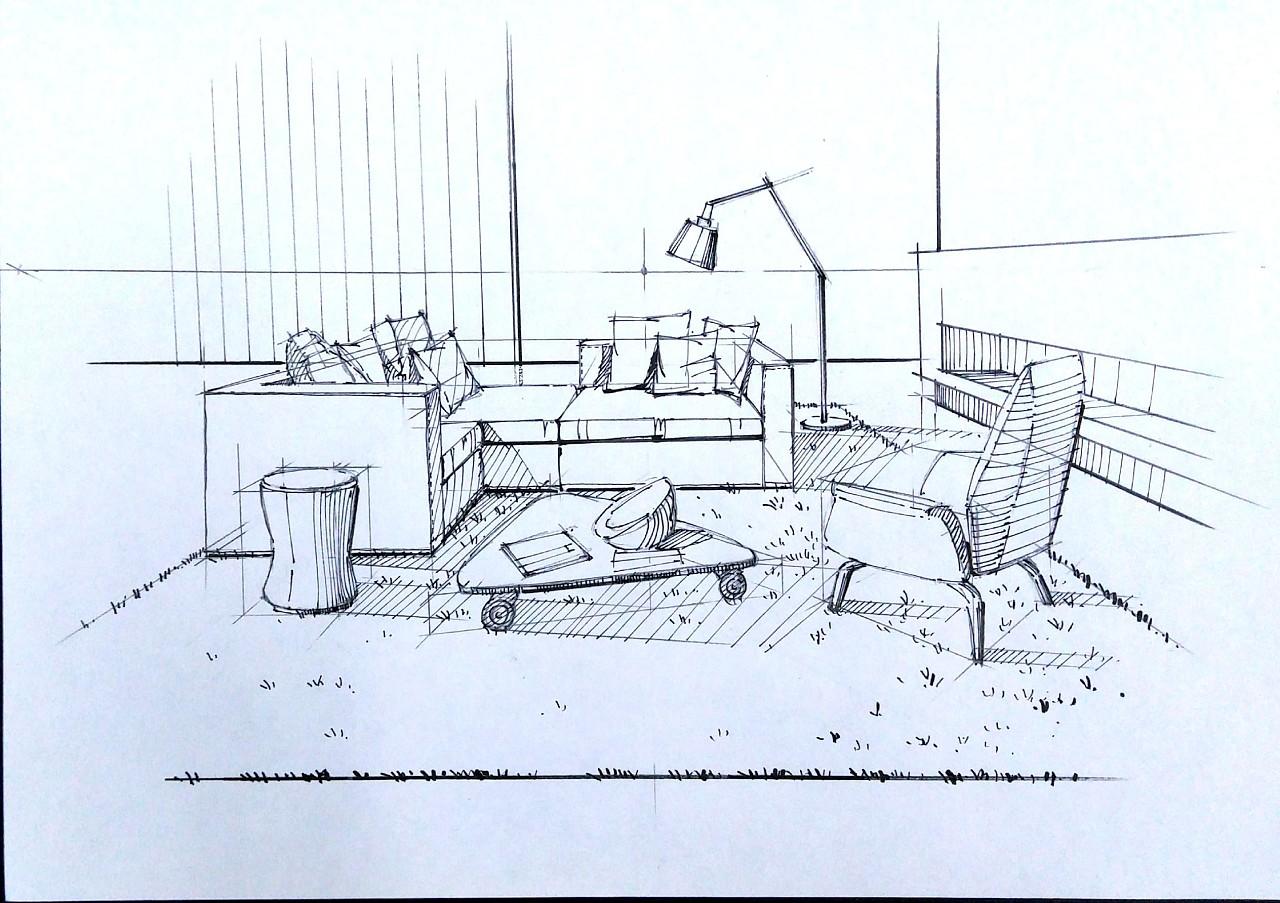 一叶手绘室内设计手绘线稿|空间|室内设计|一叶手绘