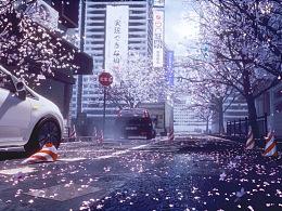 虚幻4渲染场景--樱花街道