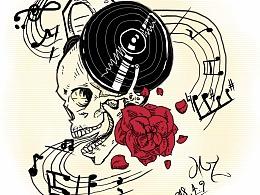 音乐骷髅印花