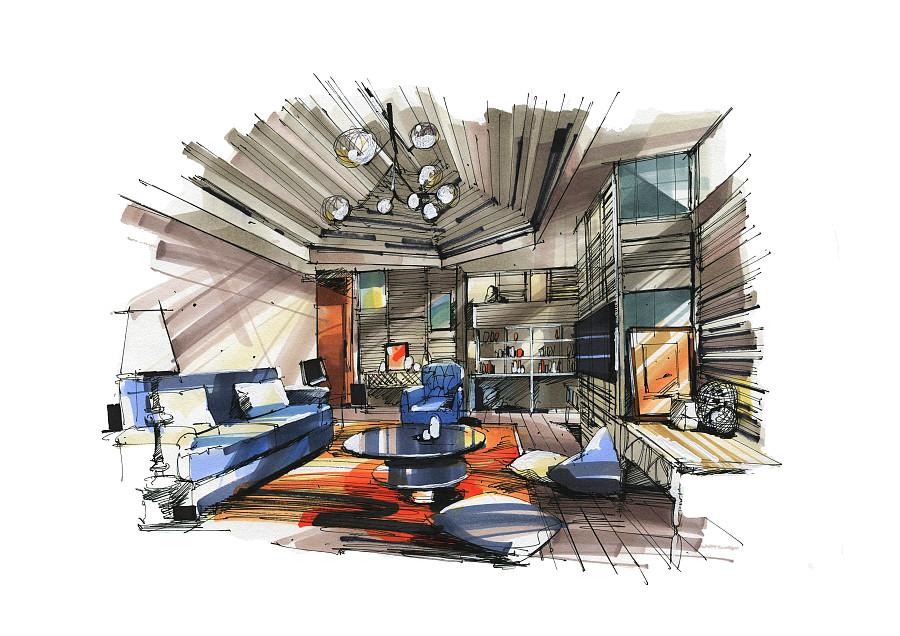 室内马克笔手绘|室内设计|空间