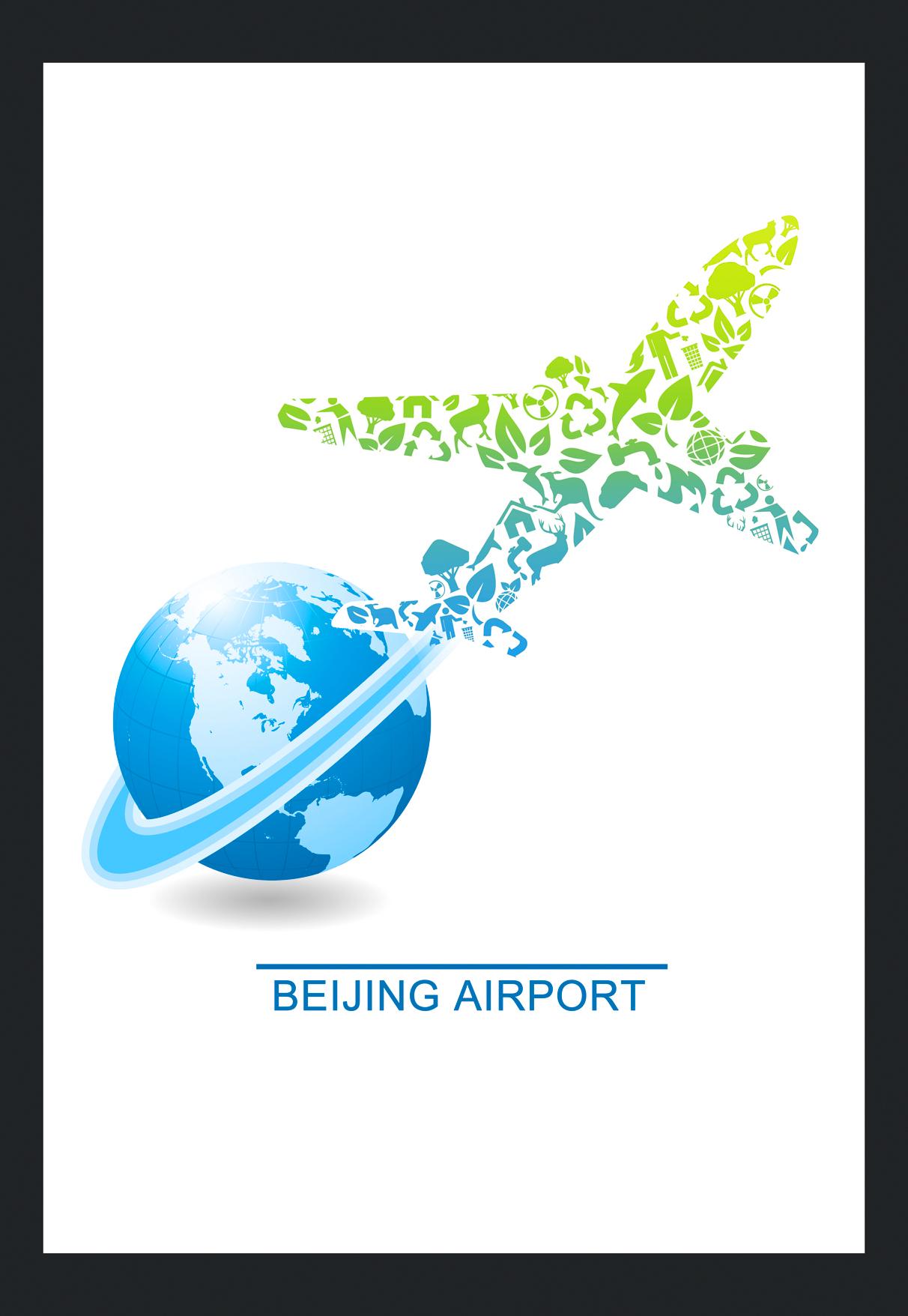由环保icon拼凑的飞机形象环绕地球延展出绿色旅行的意义
