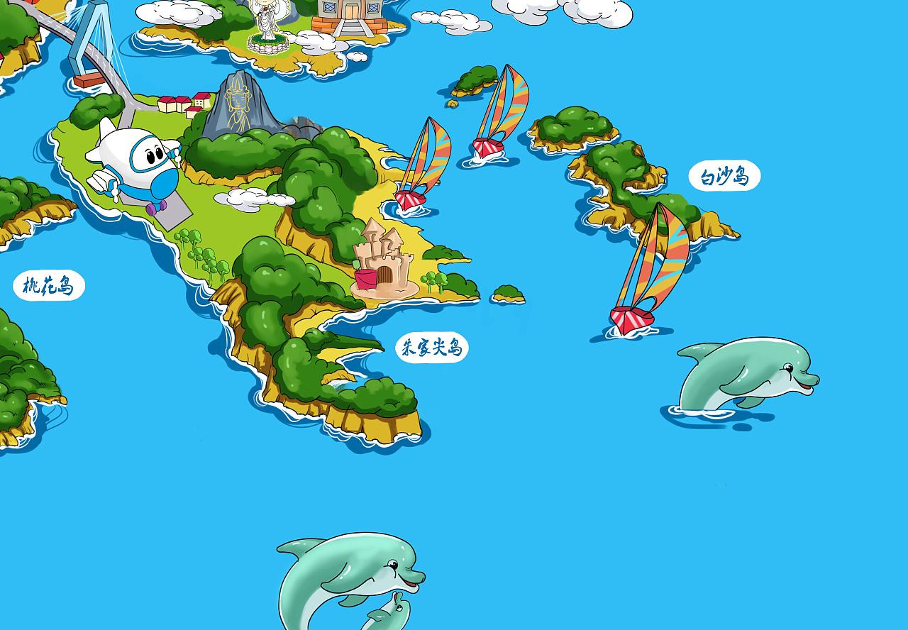 舟山群岛景点手绘地图