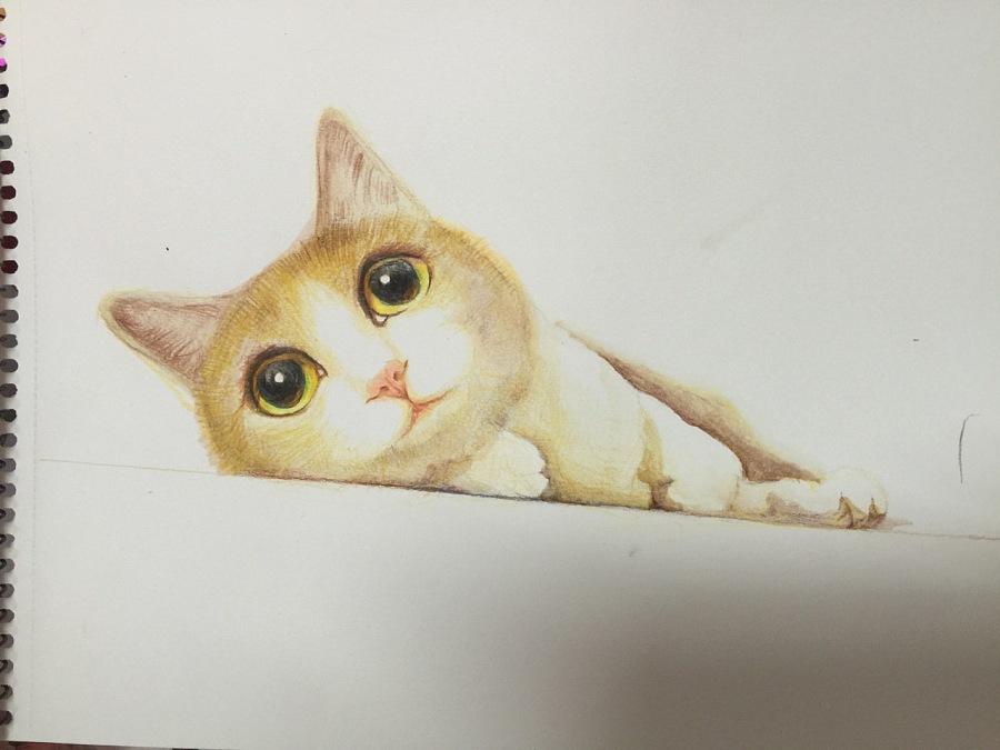 彩铅手绘卡通狗