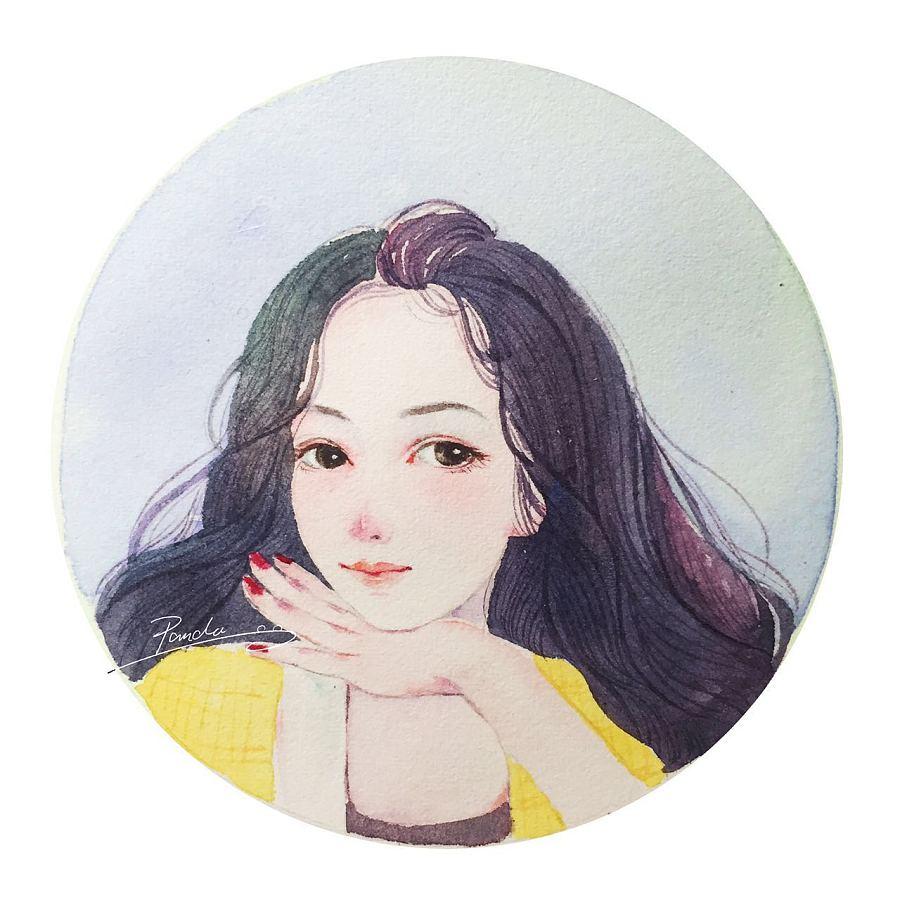【小熊猫】唯美水彩人物插画卡通头像画像
