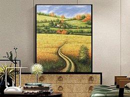 我的原创油画风景作品《乡村小路 · 人家》