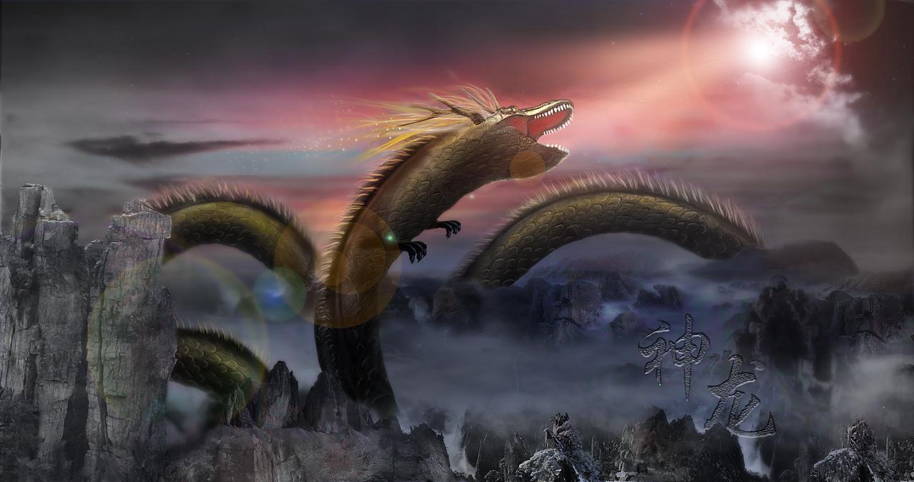 神龙合成 手绘海报