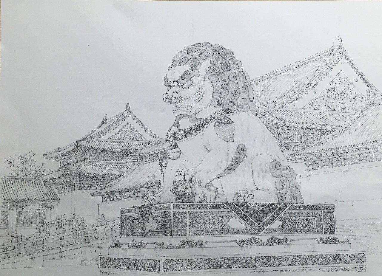 手绘故宫 青铜狮 系列二
