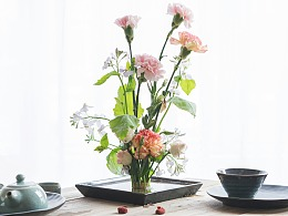 静物摄影|康乃馨&二月兰插花