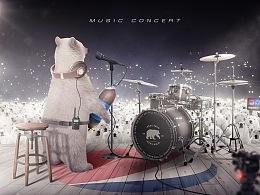 [PEPSI北极熊演唱会]电商合成海报学员作品