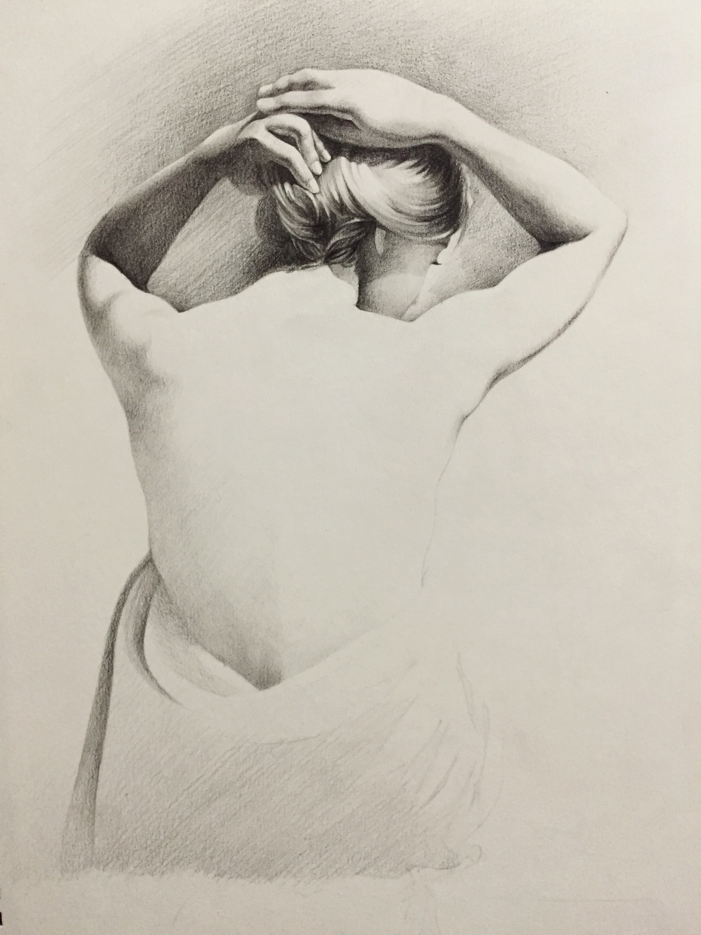 彩铅肖像画手绘半裸女素描