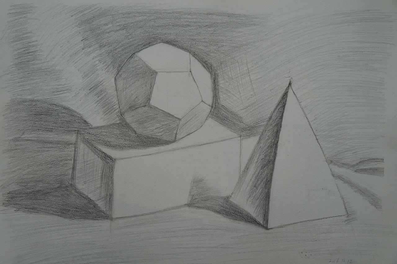 【素描系列】一步一步免费教你画十二面体--光影素描