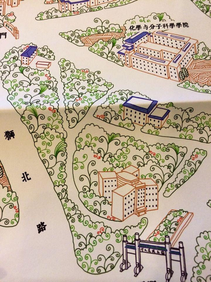 樱--武汉大学手绘地图|其他绘画|插画|petezheng