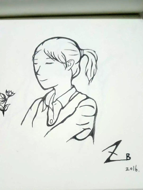 zxb手绘插画黑白水笔画