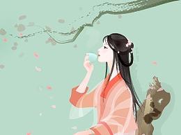 绿色古风线描花瓣奇石汉服少女饮茶矢量插图