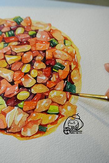 金鱼手绘美食——宫保鸡丁|商业插画|插画|画画的