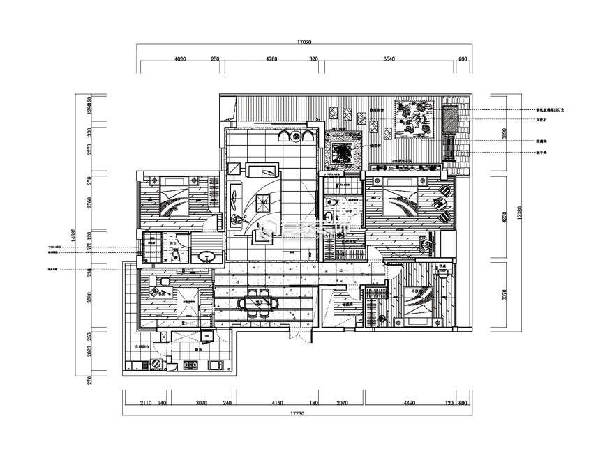 厦门五缘湾一号180平户型图欧式风格装修效果图|室内