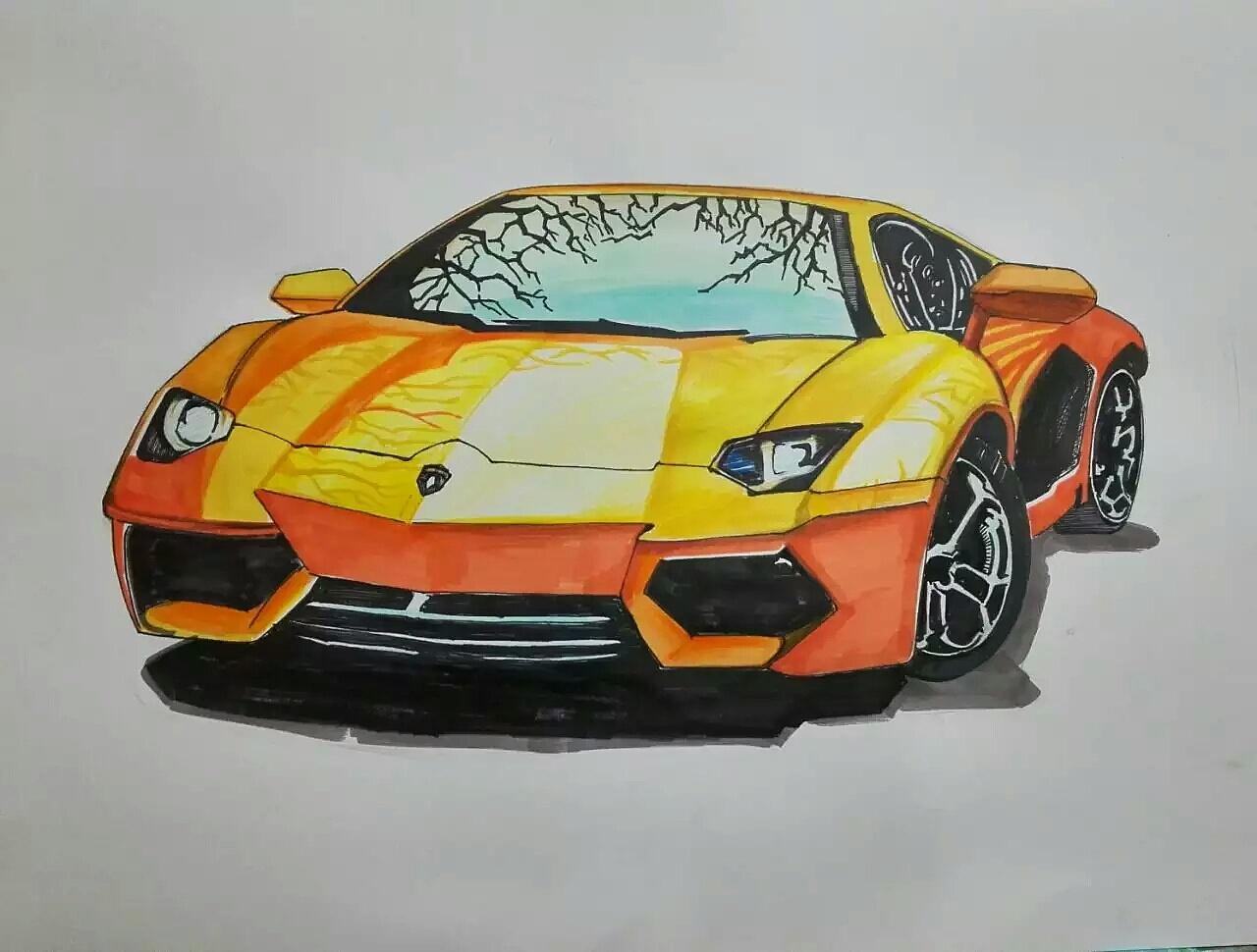 马克笔手绘兰博基尼赛车教程