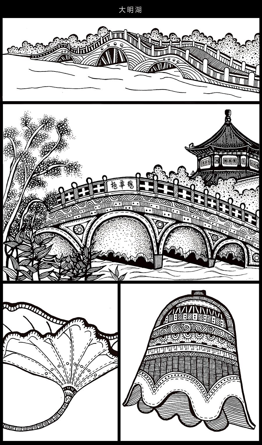手绘济南-黑白风景装饰画|其他绘画|插画|佑佑佑小溪