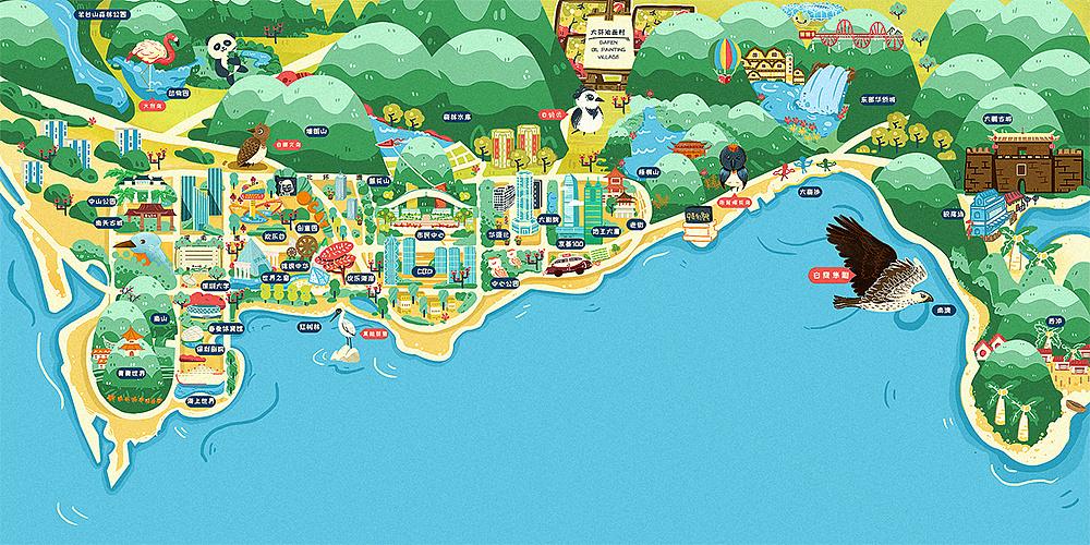 深圳鸟类生态手绘插画地图