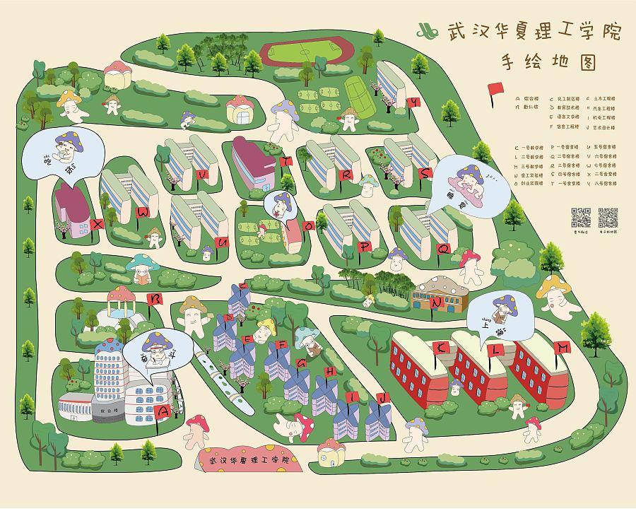 主题式学校手绘地图|绘画习作|插画|adgainai