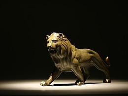 【铜臻-作品】纯铜艺手工作品雄狮 家居装饰办公室摆件