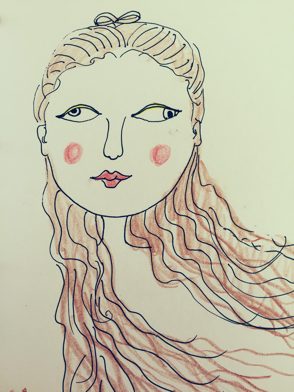 手绘彩铅抽象女生