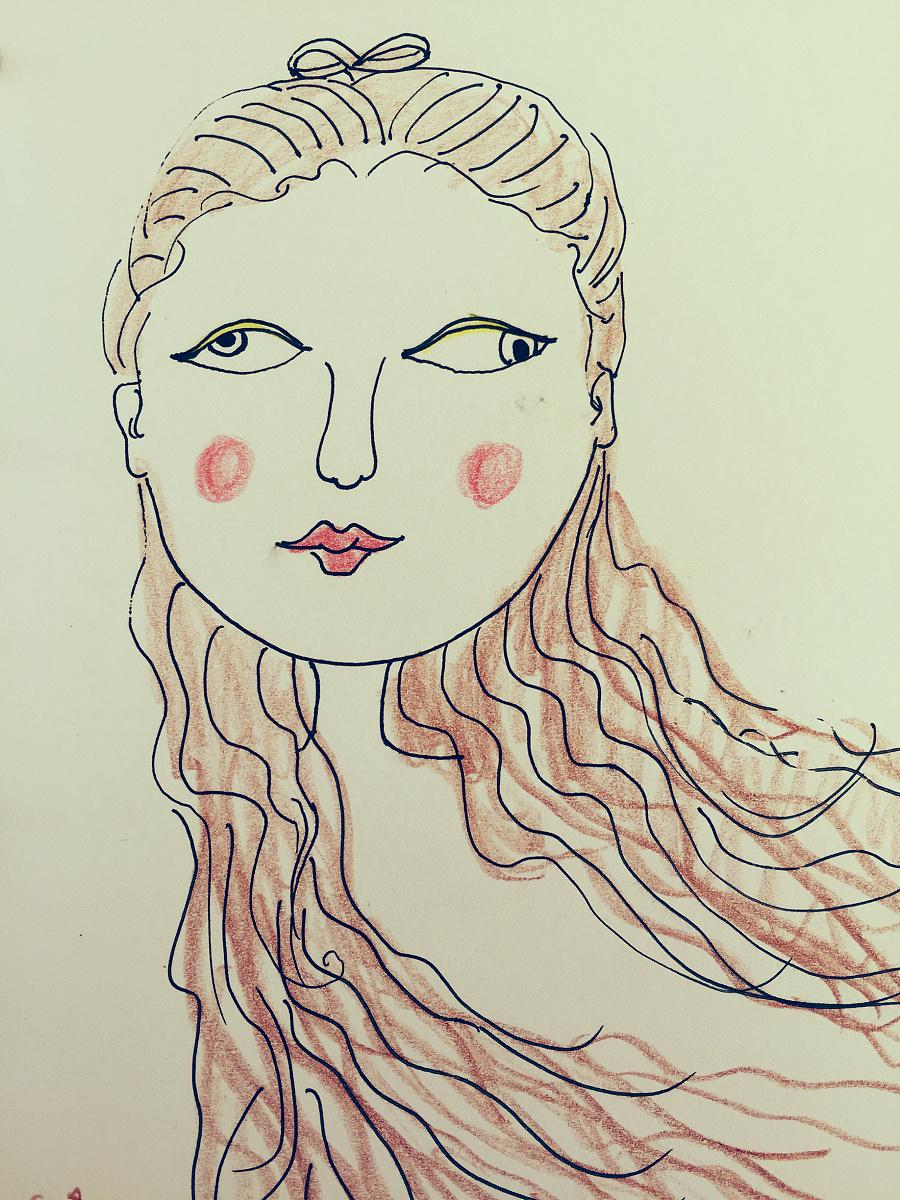 手绘彩铅抽象女生 彩铅 纯艺术 jenniferfer