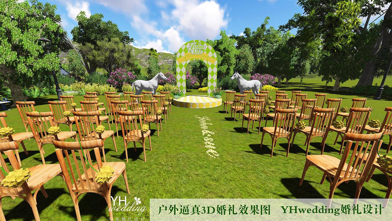 yhwedding户外婚礼3d效果图|空间|舞台美术|yhwedding