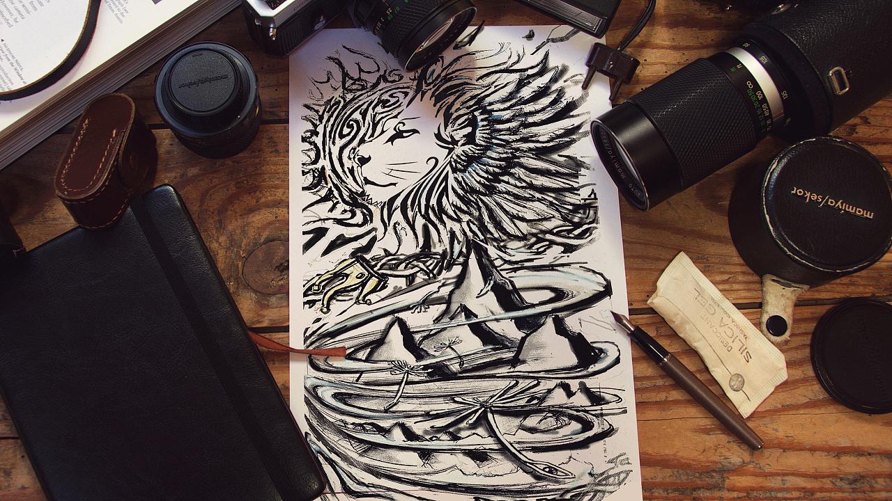 纹身图案设计《自由与远方》图片