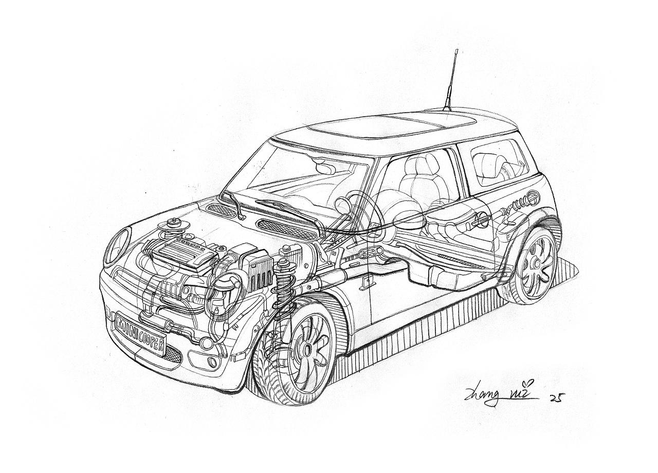 线稿手绘|工业/产品|交通工具|vivian射击尸 - 原创