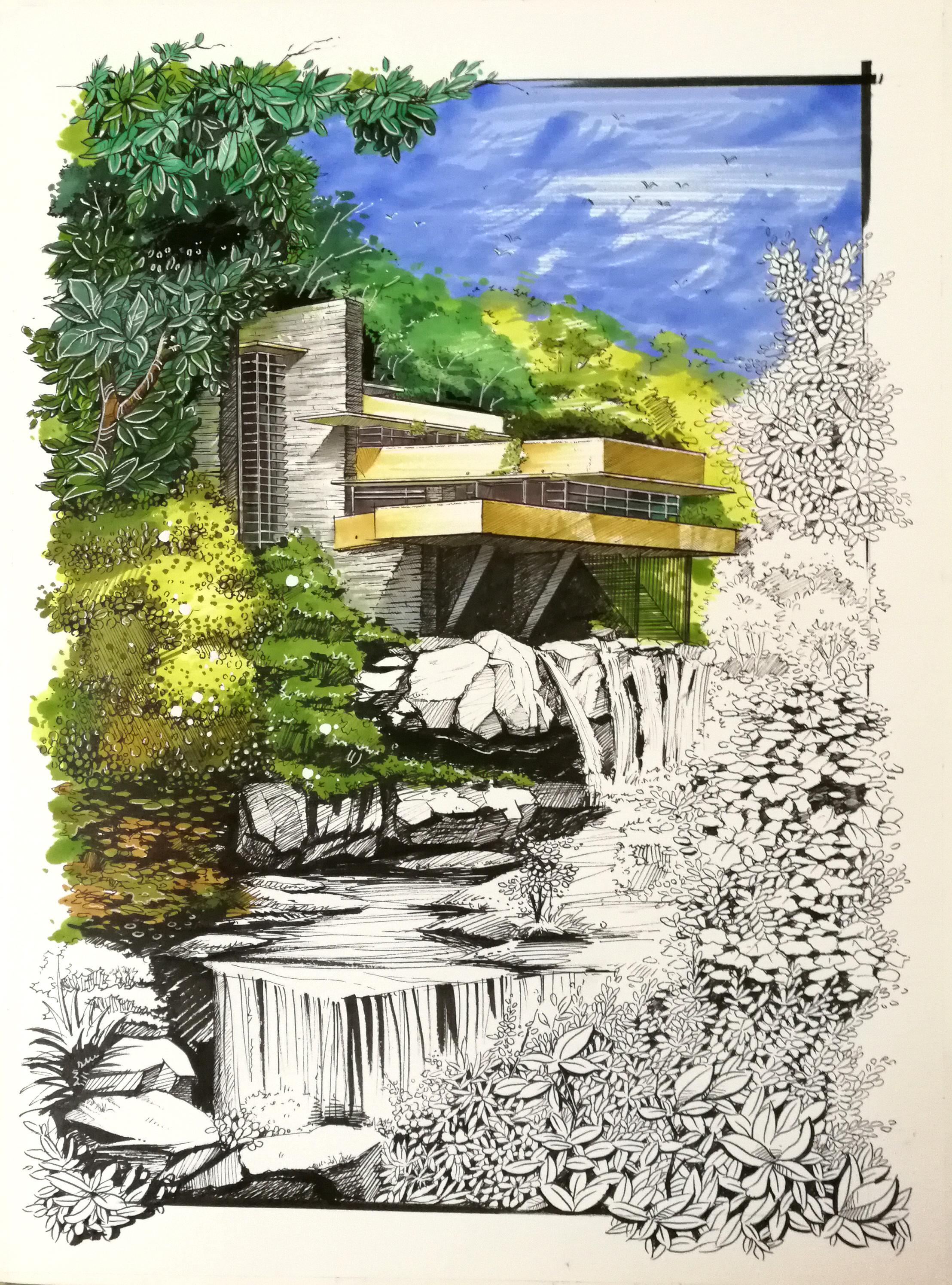 马克笔手绘作品:《赖特--流水别墅》|空间|建筑设计