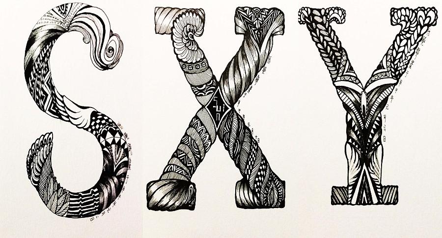 英伦字母手绘风