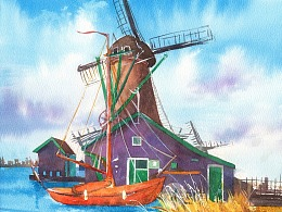 水彩——风车