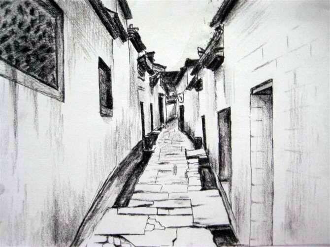 手绘小巷图片高清